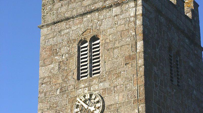 The tower of St John the Baptist church in Lustleigh