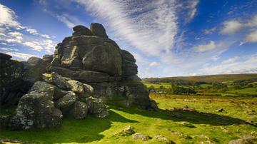 A Dartmoor tor on a sunny day