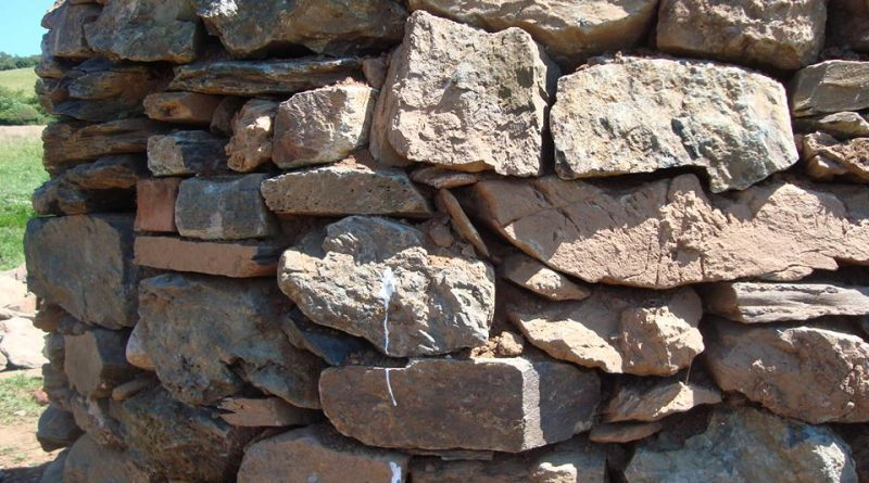 A close up of a dry stone wall built by the Devon Rural Skills Trust