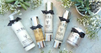 A range of products from Nura Skincare