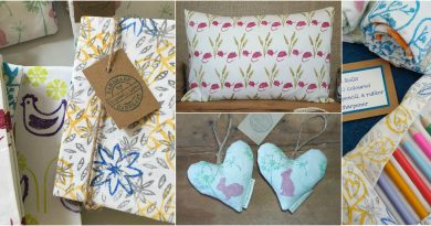 Products made by Bluebell Love from hand printed fabric