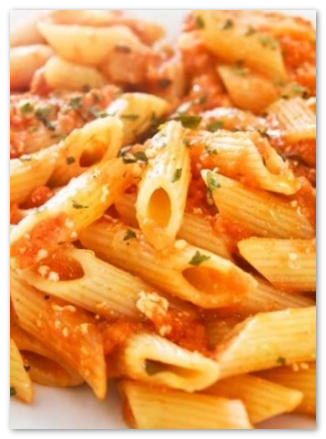 Penna pasta in a sauce by the Express Pasta Company