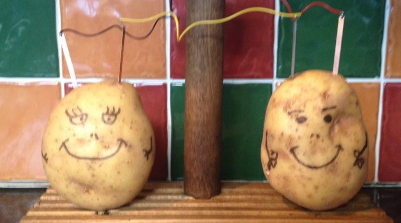 A potato powered clock on the Teddy Baker jacket potato stand