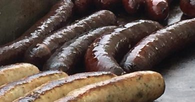 Three flavours of sausage by Sausage World grilling