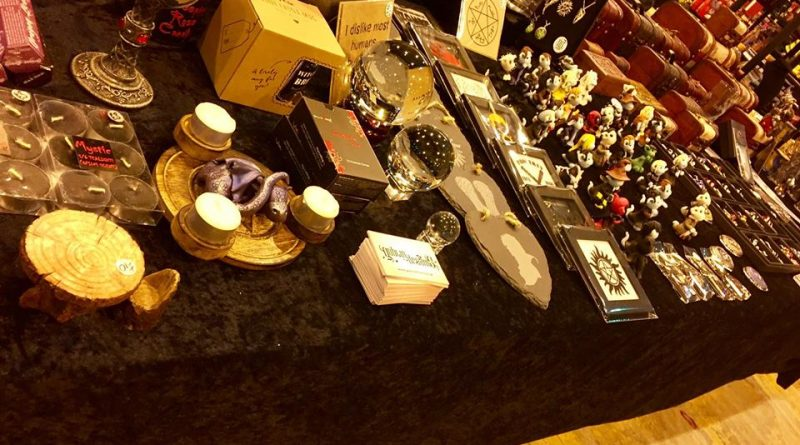 A range of merchandise from Goblin Dreams on display on their stand