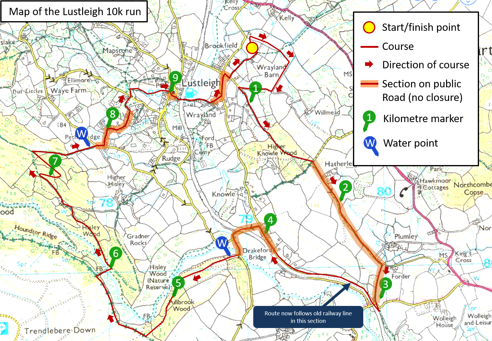 Map of the 10k route for 2018